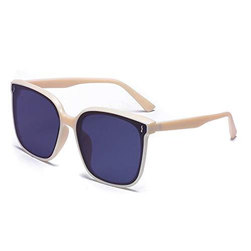 Fenshan223 2021 Neue universelle Sonnenbrille Damenrahmen ultradünne koreanische Version der Netto-Prominenten mit Retro-Sonnenbrillen-Männern (Size : White Frame)