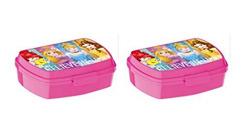 ALMACENESADAN 2296; Pack 2 Rechteckiger, mehrfarbiger Sandwichmaker Disney Princesas; Innenmaße 16,5x11,5x5,5 cm; Kunststoffprodukt; Kein BPA