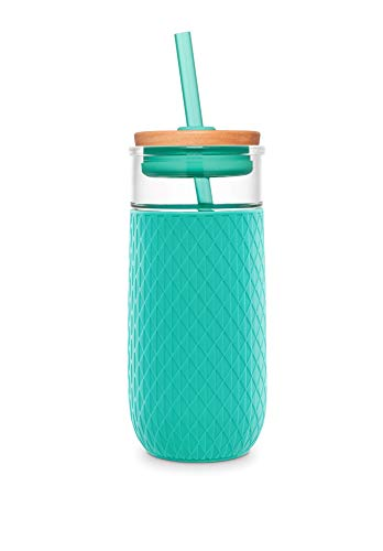 Ello Devon Glass Tumbler With Straw, Mint, 20 oz