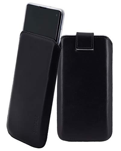 Suncase Etui Tasche kompatibel mit Samsung Galaxy S10 mit ZUSÄTZLICHER Hülle/Schale/Bumper/Silikon *Lasche mit Rückzugfunktion* Handytasche Ledertasche Schutzhülle Case in schwarz
