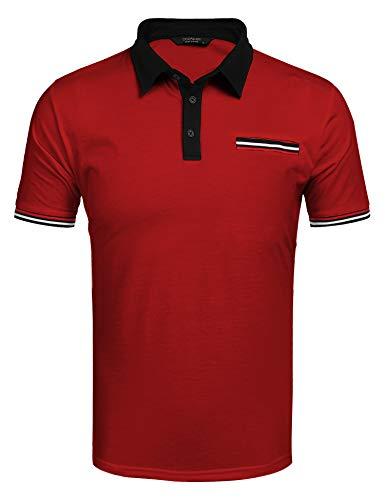 COOFANDY Poloshirt Herren Kurzarm Polohemd Regular Fit Einfarbig Poloshirt Bügelfrei Bussiness Hemd für Männer