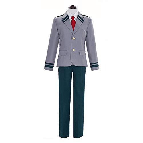 XCJLW Boku no Hero Academia My Hero Academia Izuku Blazer Costume School Uniform Full Suit (XXX-Large) Gray