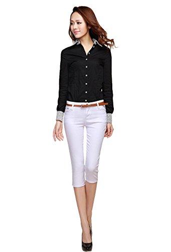 Adelina Chino Hosen Damen Business Hose 3/4 Freizeithose Hose Pants Elegante Fashionable Completi Sommerhosen Skinny Mode Unifarben (Color : Weiß, Size : 40)