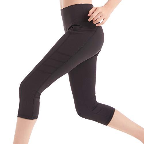 Leggings Deporte 3/4 Yoga Pantalones Mallas de Cintura Alta con Bolsillos para Mujer Azul Large - Negra