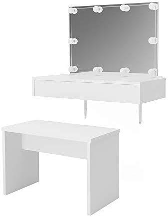 Vicco Schminktisch Alessia Weiß wandhängend mit Bank - Frisiertisch Kommode Spiegel +++ Schminkkommode mit großen Schubfächer und riesigen Spiegel +++ (mit Bank und LED)