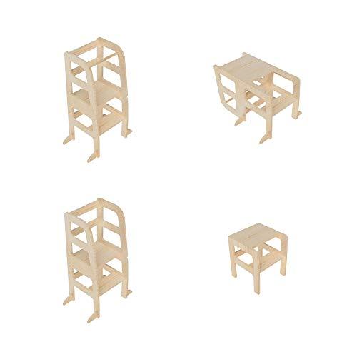 AtviKids Torre Montessori de Aprendizaje Transformable | Multiuso (4 en 1) | Ayudante Cocina | Taburete Cocina | Torre Actividades | Taburete Escalada (Natur)