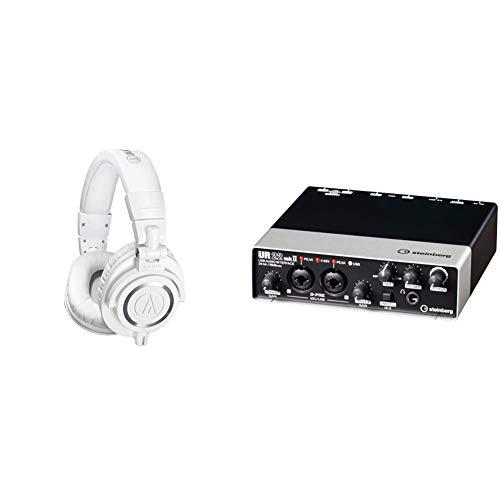 (Purchase Set) audio-technica ATH-M50xWH Professional Monitor Headphones, White, Studio Recording, Mixing, DJ, Trackmaking, & Steinberg Steinberg 2x2, USB2.0, 24bit/192kHz Audio Interface UR22mkII