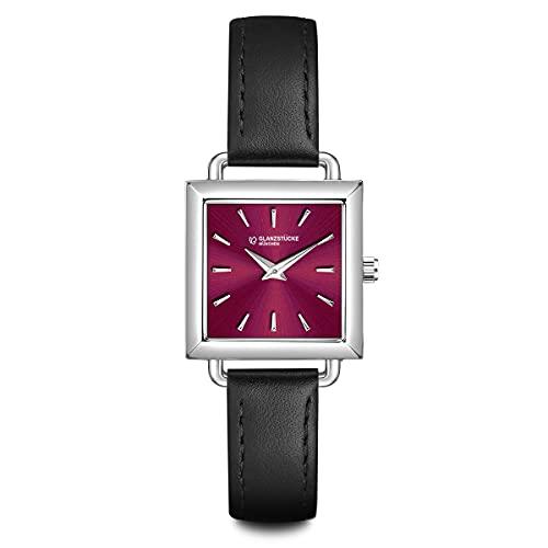Glanzstücke München Damen Uhr analog Japan Quarzwerk mit Echtleder schwarz Armband 10130003
