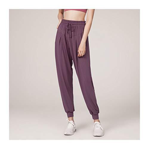 JINSUO Leggings de gimnasio, pantalones de yoga, pantalones deportivos para mujer, pantalones sueltos para correr, secado rápido, cintura alta (color: morado, talla: L)