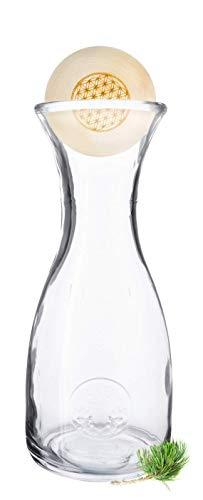 Gesundheitskissen.at ZirbenKugel mit PEFC-Zertifizierung Blume des Lebens | 7cm-Verschluss aus zertifiziertem Zirbenholz inkl. Zirben-Wasserkaraffe Misura (1 Liter)