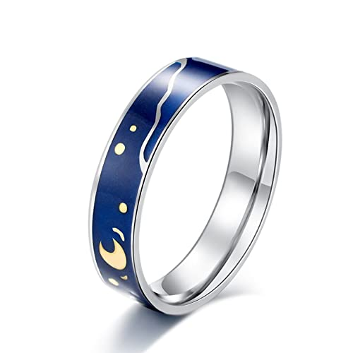 Banemi Schöner Ring Damen, Kleiner Finger Ring Damen Edelstahl Ölgemälde Sternenhimmel Damen Verlobungsringe Größe 65 (20.7)