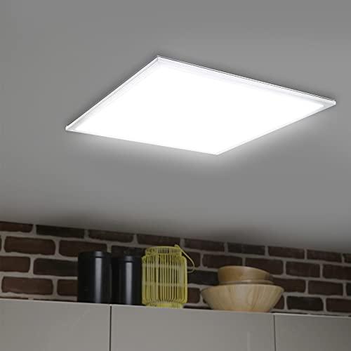 SBARTAR Plafoniera a pannello LED (62 x 62 cm, 40 W, 4000 lm, 4000 K, bianco neutro), telaio argentato, lampada da incasso, lampada da ufficio, con materiale di fissaggio e trasformatore