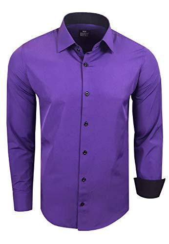 Rusty Neal Herren Hemd Stretch Business Kontrast Hemden Bügelleicht Slim 31 Farben S - 4XL, Farbe:Lila, Größe:L