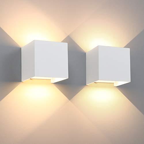 Aipsun LED Wandleuchte 12W 2er Pack Modern Warmweiß Außenlampe Mit Einstellbar Abstrahlwinkel LED Wandbeleuchtung IP65 Innen/Außen(Weiß, 3000K)