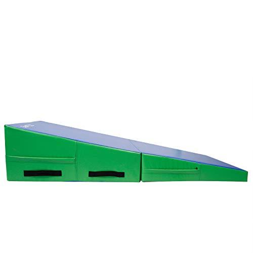 CCLIFE 2in1 Turnmatte Jump-Box Schaumstoffbausteine Keil-Matte Gymnastikmatte Tumbling klappbar Spielmatte Weichbodenmatte zum Turnen Fitness rutschfest, Farbe:Blau&Gelb