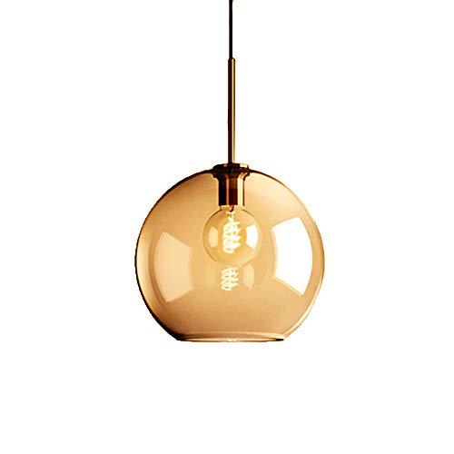 MZStech 1-Light Sphärische Pendelleuchte aus Bernstein glas, Globus Glaslampe Kronleuchter Hängeleuchte (25cm, Bernstein)