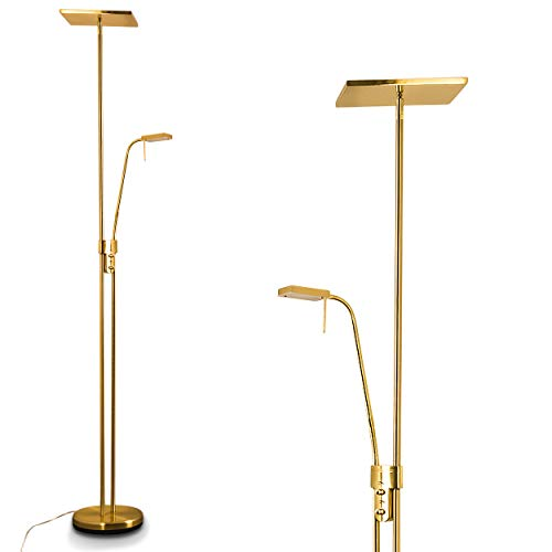LED vloerlamp Agello - Messing plafondlamp met 1620 lumen - Vloerlamp LED woonkamer met leeslamp - Dimbare vloerlamp met warm wit licht voor comfort in uw kamers