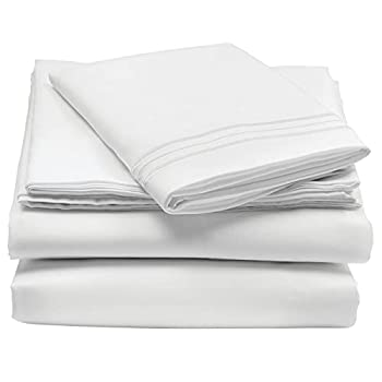 mDesign Twin XL Size Superfine Brushed Microfiber Sheet Set - 3 Pieces - Extra Soft Bed Sheets and Pillowcase - Easy Fit Deep Pockets - Wrinkle Resistant Comfortable & Breathable - White