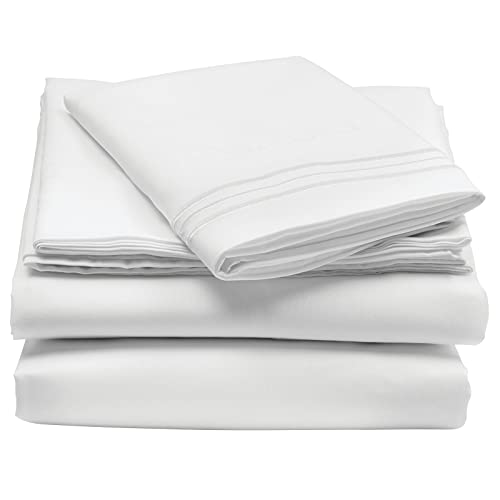 mDesign Twin Size Superfine Brushed Microfiber Sheet Set - 3 Pieces - Extra Soft Bed Sheets and Pillowcase - Easy Fit Deep Pockets - Wrinkle Resistant, Comfortable, & Breathable - White