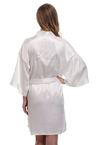 expressbuynow Women's Bridesmaids Robe Short Kimono Wedding Robe for Bride, White, M