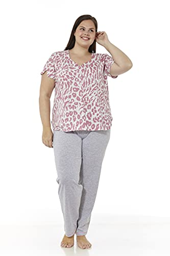 Mabel Intima Pijamas Mujer Verano Tallas Grandes Pijama Manga Corta y pantalón Largo Talla 54