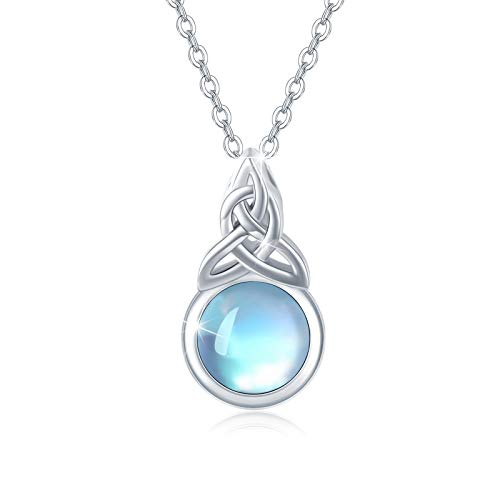 """Moonstone Necklace Celtic Knot Necklace Choker Necklace for Women Rainbow Moonstone with Sterling Silver Chain 16""""-18"""" Dainty Short Necklace Gift for Women"""