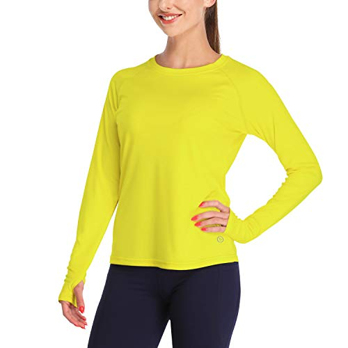 DAYOUNG Womens UPF 50+ UV Sun Protection Long Sleeve T-Shirt Running Hiking Outdoors Performance Athletic Top Thumb Hole YWT11-Yellow-S