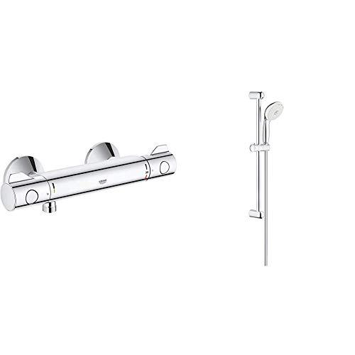 Grohe Grohtherm 800 - Termostato de ducha, tecnología termostática para un control de temperatura preciso + Tempesta - Conjunto de Ducha con Barra, 3 Chorros, Cromo (Ref. 27794001)