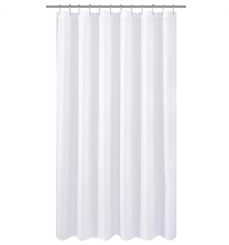 N&Y HOME Extra Long Fabric Shower Curtain or Liner 84 inches Height, Hotel Quality, Washable, Water Repellent, Diamond Patterned White Bathroom Curtains with Grommets