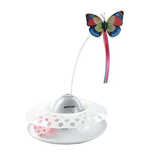 Laelr Interaktives Katzenspielzeug Ball Elektrisches Katzenspielzeug Schmetterling mit 360 Grad Drehung Schmetterlingsdraht, Buntem Intelligenzspielzeug mit Glöckchen Für Katzen