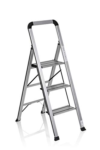 hjh OFFICE 801104 escalera plegable SOLID V aluminio plateado / negro 3...