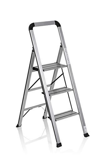Hjh OFFICE 801104 - Scala pieghevole con 3 gradini Solid V, in alluminio, con staffa di sicurezza, portata fino a 150 kg, pieghevole, colore: Argento/Nero