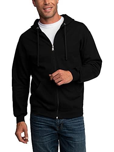 Fruit of the Loom Men's Eversoft Fleece Sweatshirts & Hoodies, Full Zip-Black, 3X-Large