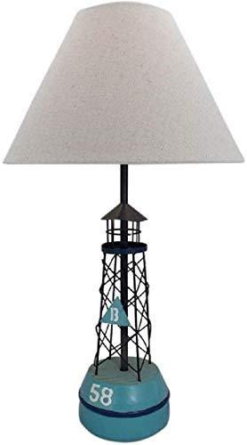 linoows Maritime Tischlampe, Tisch Leuchte Boje, Leuchttonne als Tischleuchte mit Schirm