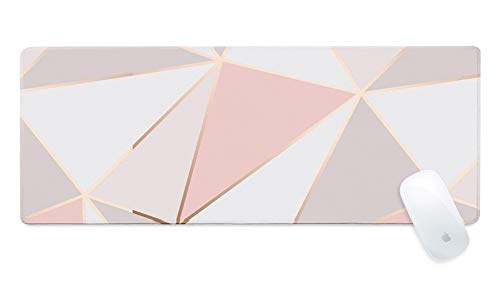 """ZYCCW Large Gaming XXL Mouse Pad with Stitched Edge 31.5""""x11.8""""x0.15"""" Pink Gold Marble Mouse Mat Customized Extended Gaming Mouse Pad Anti-Slip Rubber Base Ergonomic Mouse Pad for Computer"""