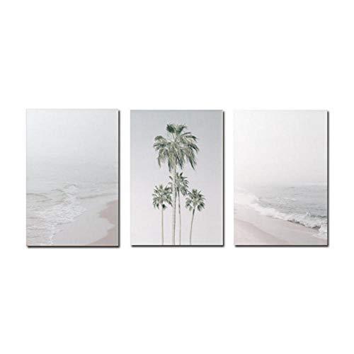 Wenjing Nordic Minimalist Landscape Poster Canvas Schilderij Strand Poster Print Wandkunst Groene Plant kokosnoot voor wooncultuur 40 x 60 cm x 3 stuks zonder lijst