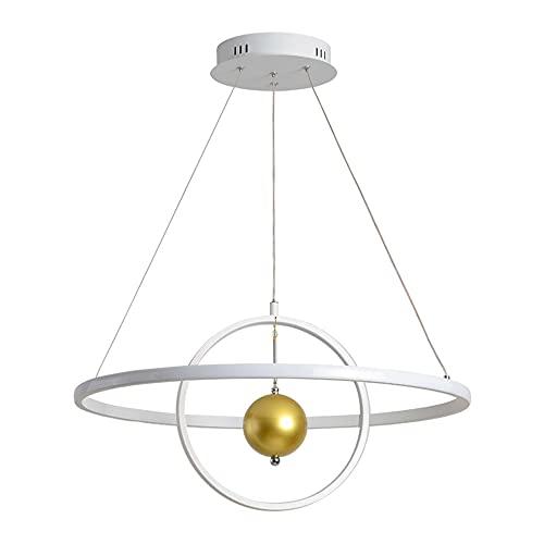 Regulable Mesa De Comedor Lámpara 2-Anillo Luces colgantes,con control remoto Moderno LED Ronda Colgante de luz,Altura Ajustable Blanco lámpara de comedor Aluminio Lámpara colgante (Ø60CM/112W)