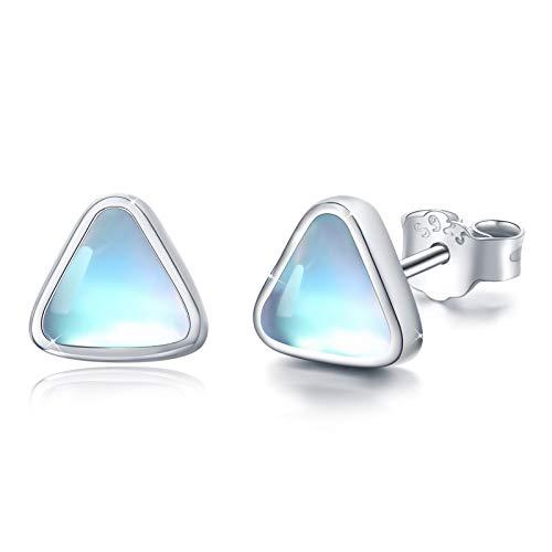 Moonstone Triangle Earrings,Sterling Silver Triangle Studs Earrings for Women Nickel Free for Sensitive Ears Hypoallergenic Gifts for Women Girl