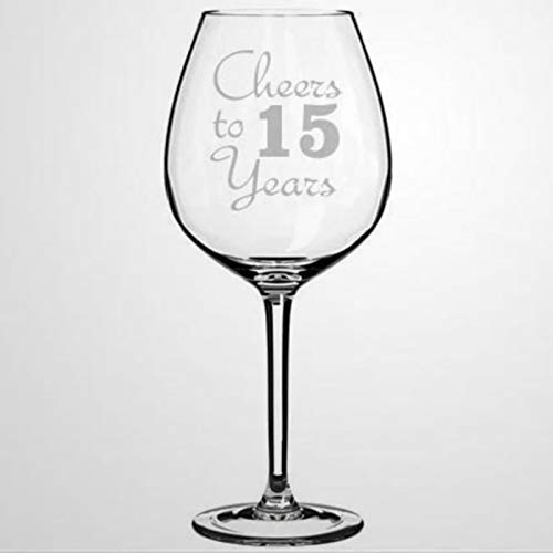 Cheers To 15 Years wine glass, Hand Blown Printed wine Glasses for...