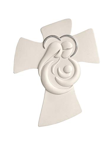 MEMORY SRL crocifisso da Parete 45x36 Moderno capezzale Sacra Famiglia Bianco Aureola Glitter Made in Italy