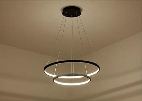 LY-JFSZ LED Pendelleuchte, Esstisch Black 2-Ring Hängelampe Moderne Wohnzimmer-Decken-Lampe Schlafzimmer Kronleuchter Stepless dimming 60+80cm