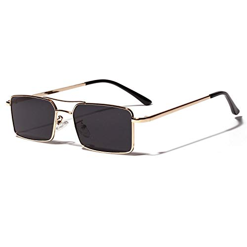 Gafas de sol deportivas, gafas de sol vintage, Gold Rectangular Sunglasses Men NEW Metal Frame Men Retro Small Square Sun Glasses For Women Retro Uv400 Clear Lens as show in photo red