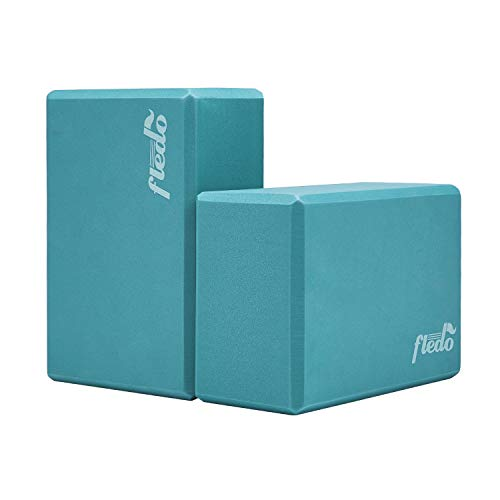 Fledo Yoga Blocks (Set of 2) 9'x6'x4' - EVA Foam Brick, Featherweight and Comfy - Provides...