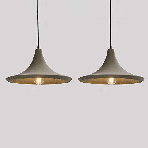 JPL Lámparas de novedad, lámpara colgante de techo industrial vintage con pantalla de cemento, lámpara colgante retro, juego de 2, accesorios de iluminación de suspensión antiguos para comedor, cocin