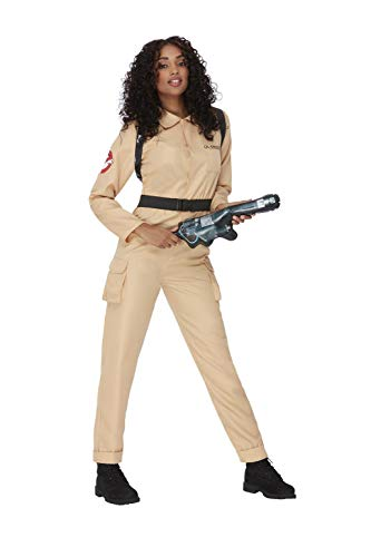 Smiffys Officially Licensed Ghostbusters Ladies Costume Disfraz de Cazafantasmas con licencia oficial, color beige, S-UK Size 08-10 (52568S)