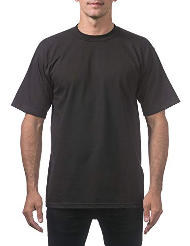 Pro Club Men's Heavyweight Cotton Short Sleeve Crew Neck T-Shirt, Black, 2X-Large
