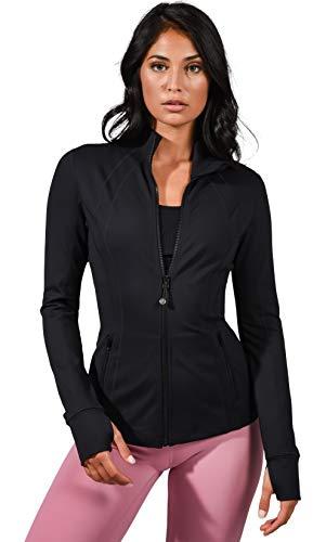 90 Degree By Reflex Women's Lightweight, Full Zip Running Track Jacket - Black - Large