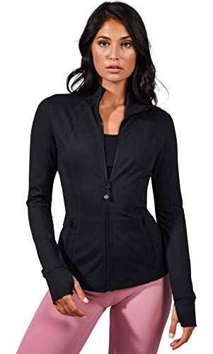 90 Degree By Reflex Women's Lightweight, Full Zip Running Track Jacket - Black - Large