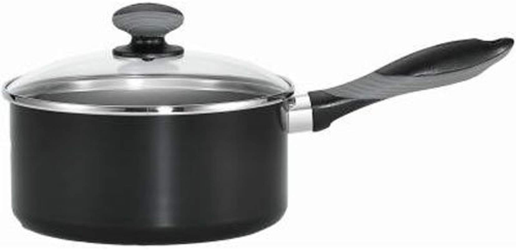 Mirro A79723 Get A Grip Aluminum Nonstick Sauce Pan With Glass Lid Cover Cookware 2 Quart Black