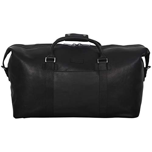"""Kenneth Cole Reaction I Beg to Duff-er' Full-Grain Colombian Leather Top Zip 20"""" Carry-On Duffel Travel Bag, Black"""